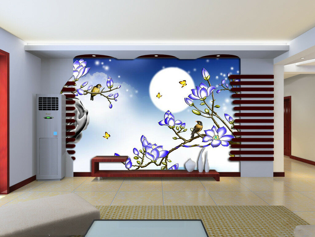 3D Squid Moonlight Wallpaper Murals Wall Print Wallpaper Mural AJ WALL AU Lemon