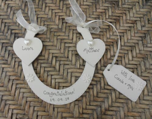 Personnalisé Mariage Fer à Cheval fabriquée à la main en bois souvenir