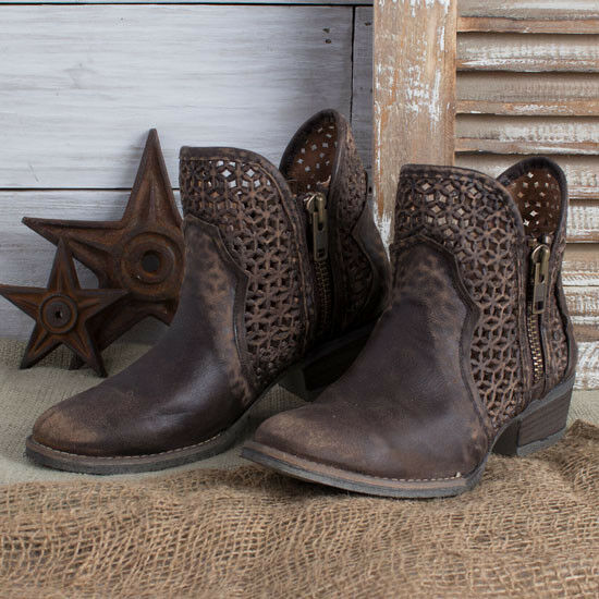 Circle G Brown Cut out Booties