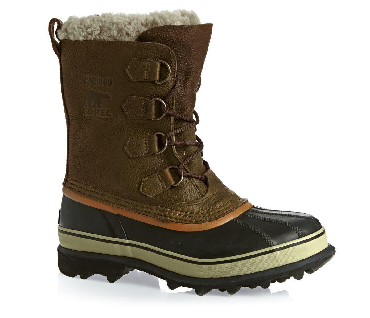 NWT SOREL Men's Caribou Waterproof Leather Boot, Olive Brown/Ginger sz 9 (42-EU)
