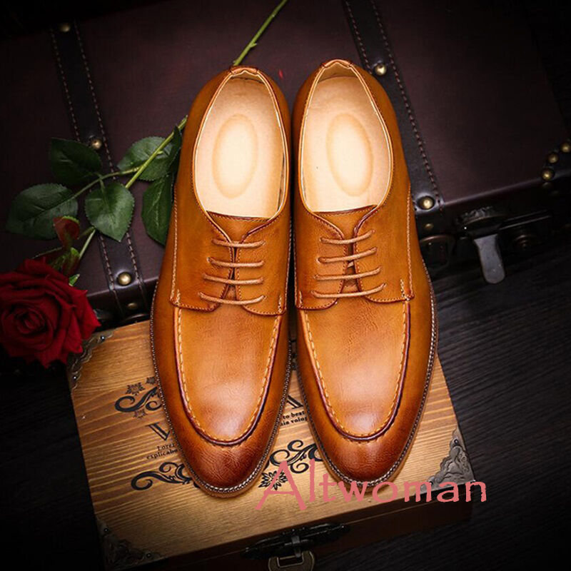Hot Vintage Mens Dress Formal Lace Up Flat Business Oxford Casual Loafers shoes