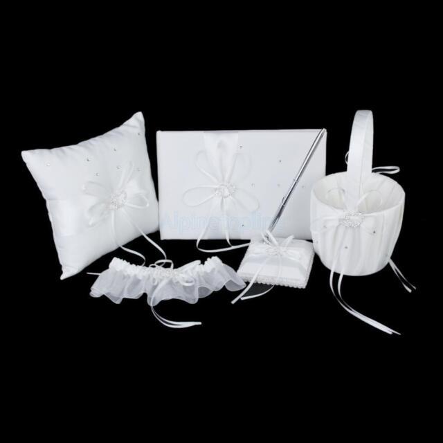 Ivory Double Heart Diamante Wedding Set Guest Book Pen Ring Pillow Basket Garter