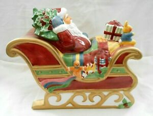 Rare-Over-The-Housetops-Santa-amp-Sleigh-Cookie-Jar-Susan-Winget-Orig-Box-w2s9