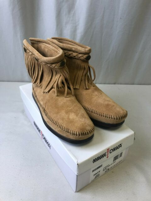 Minnetonka Women's Hi Top Back Zip Suede Boots Taupe Size 7.5 (2101260140)