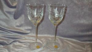 Vintage Etched Wine Glasses Tall Elegant floral design made in Romania 2 9oz ste