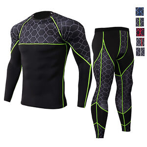 Men-039-s-Compression-Cool-Dry-Legging-Shirt-Gym-Workout-Base-Layers-Quick-dry-Set