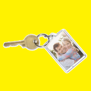 BLANK PHOTO KEYRING 35mm X 45mm ADD YOUR OWN IMAGE// NOTE// DETAIL//FAMILY PORTRAIT