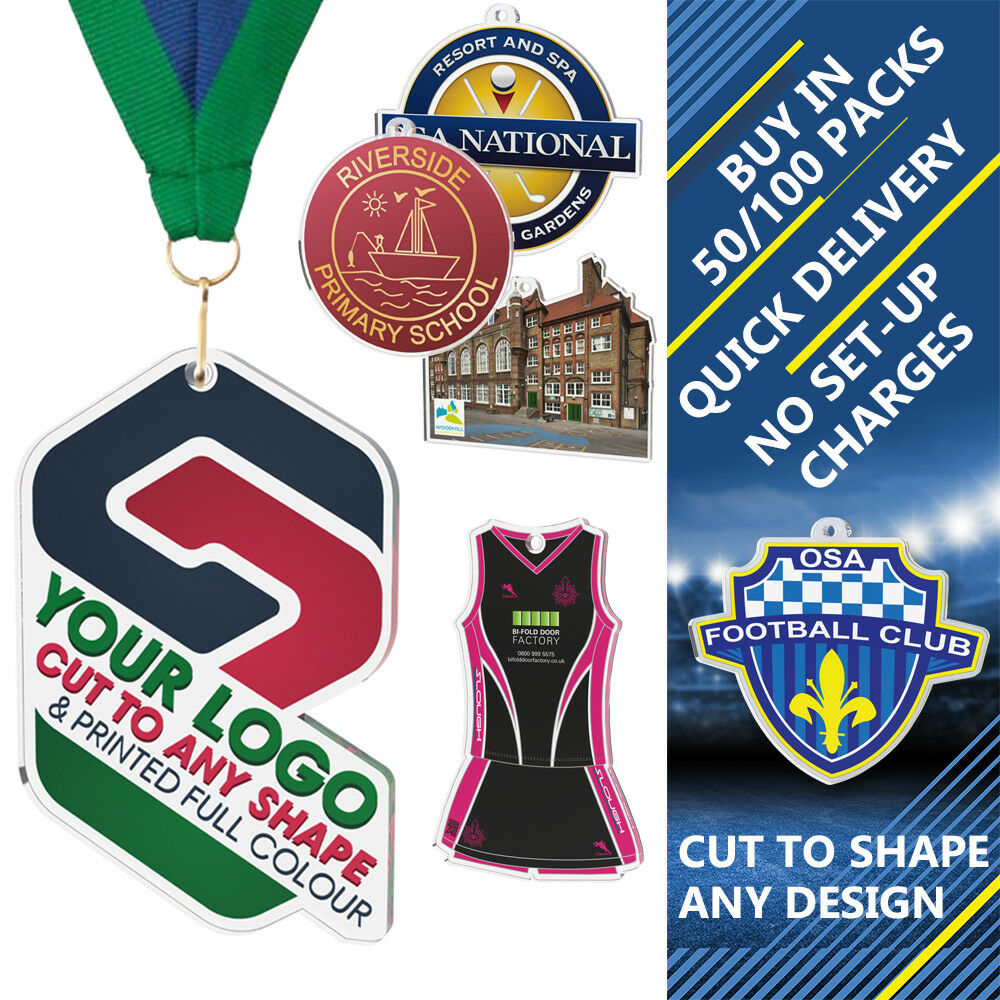 50x EQUESTRIAN CUSTOM LOGO PRINTED 50mm ACRYLIC MEDALS TO & RIBBONS CUT TO MEDALS SHAPE e1e76a