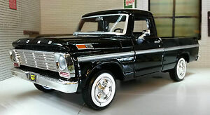 G-LGB-1-24-Scale-USA-Ford-F100-Pickup-Ute-Van-1969-Black-Truck-Diecast-Model-Car