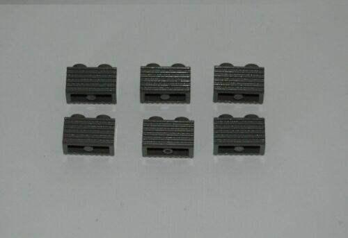 6 Lego Eisenbahn TRAIN Geriffelter geriffelte Steine DUNKELGRAU