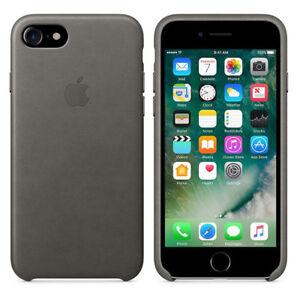 Original-Apple-Case-iPhone-7-8-Leder-Handy-Schutzhuelle-Cover-Storm-Gray-Grau