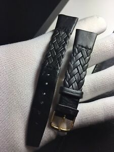 "Correa-Strap Watch Type Cartier Luxury Nero 18MM "" Vintage 1970 """