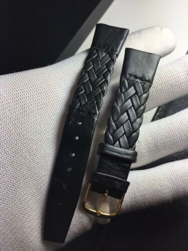 "Correa-Strap Uhren Cuero Legitimo Luxus Schwarz 18mm /"" Vintage"