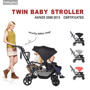 Stand On Tandem Stroller BABY JOY Stand and Ride Stroller Sit and Stand Double Stroller for Babies Ultra Light Stroller Black
