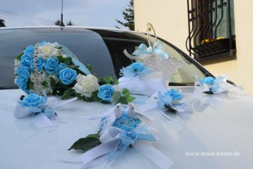 Brautstrauss Edler Autoschmuck türkis//creme Hochzeit zum Brautkleid Braut