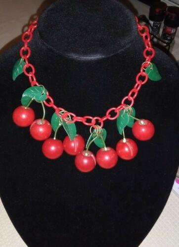 1930's Vintage Carved Bakelite Cherries Necklace