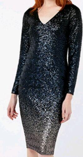 Black Ombre Dress 12 Uk Bnwt Heidi Sequins Midi Monsoon f56qna8wx