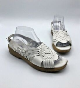 9888564bc78c Image is loading Dr-Scholls-Haband-Women-White-Leather-Huarache-Slingback-