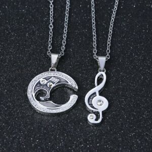 Hot-Couple-Silver-Women-Men-Music-Note-Crystal-Pendant-Necklace-Chain-Jewelry