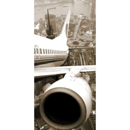 "100x211 cm Skyline Flugzeug Urlaub braun seph Tür Fototapete /""Skyline Fligt/"""