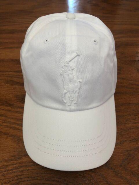 3888b4d3 POLO RALPH LAUREN ALL WHITE CHINO BIG PONY 6 PANEL SPORT HAT COTTON TWILL  CAP