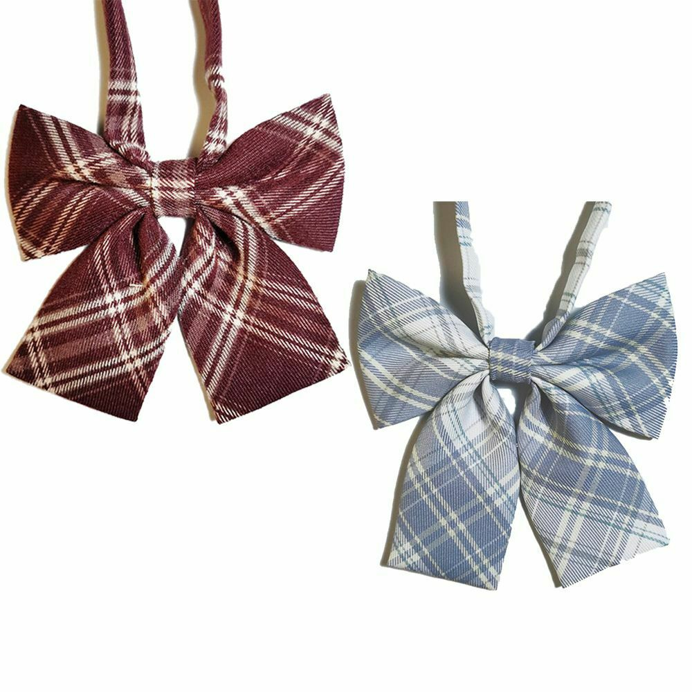 For Women Lovely Checkered Sailor Style JK Japanese Collar Bow Bow Tie