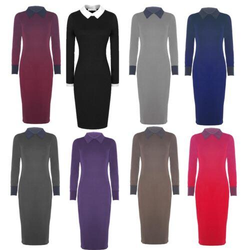 New Womens Peter Pan Collar Long Bodycon Midi Dress 8-22