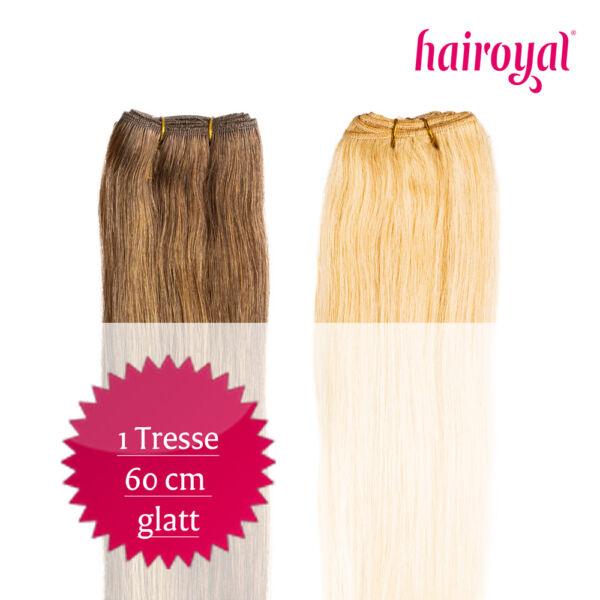 Hairoyal Tressen Haarverlängerung ind. Echthaar Remy glatt 60 cm + gratis  Bürste dce1118b58c8