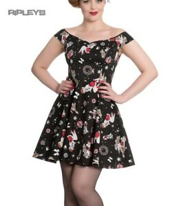 Hell-Bunny-Rockabilly-Festive-Noel-Christmas-Mini-Dress-BLITZEN-Black-All-Sizes