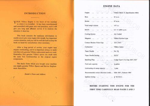Bantam Engine Operating Instructions /& Spares List Villiers Mark 15