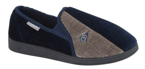 WINSTON DUNLOP MENS NAVY BLUE /& GREY VELOUR TWIN GUSSET WASHABLE SLIPPERS