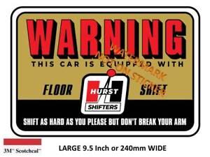 VINTAGE-HURST-FLOOR-SHIFT-WARNING-Decal-Sticker-9-INCH-DIA-230-MM-HOT-ROD