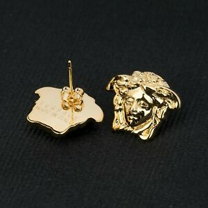 Responsible Versace Medusa Earrings Gold Plated Head Butterfly Push Back New Made In Italy Fashion Jewelry