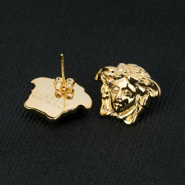 4665fd38d VERSACE Medusa Earrings Gold plated Head Butterfly push back NEW Made in  Italy