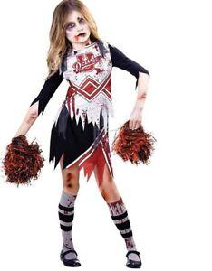 Child-Girls-Zombie-Cheerleader-Fancy-Dress-Costume-Kids-Halloween-High-School