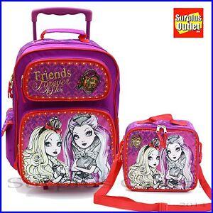 "Ever After High Backpack 16"" Large Rolling School Backpack Lunch Bag 2pc Set"