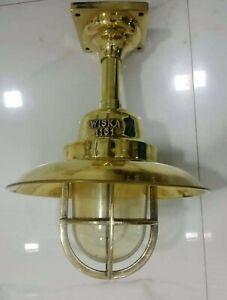 Replica-ship-marine-brass-passage-light-with-deflector-cover-012-set-of-2