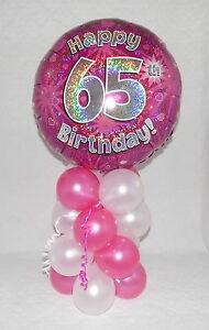 Image Is Loading 65th BIRTHDAY AGE 65 FEMALE PINK FOIL BALLOON