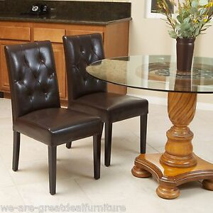 set of 2 elegant brown leather dining room chairs with tufted backrest