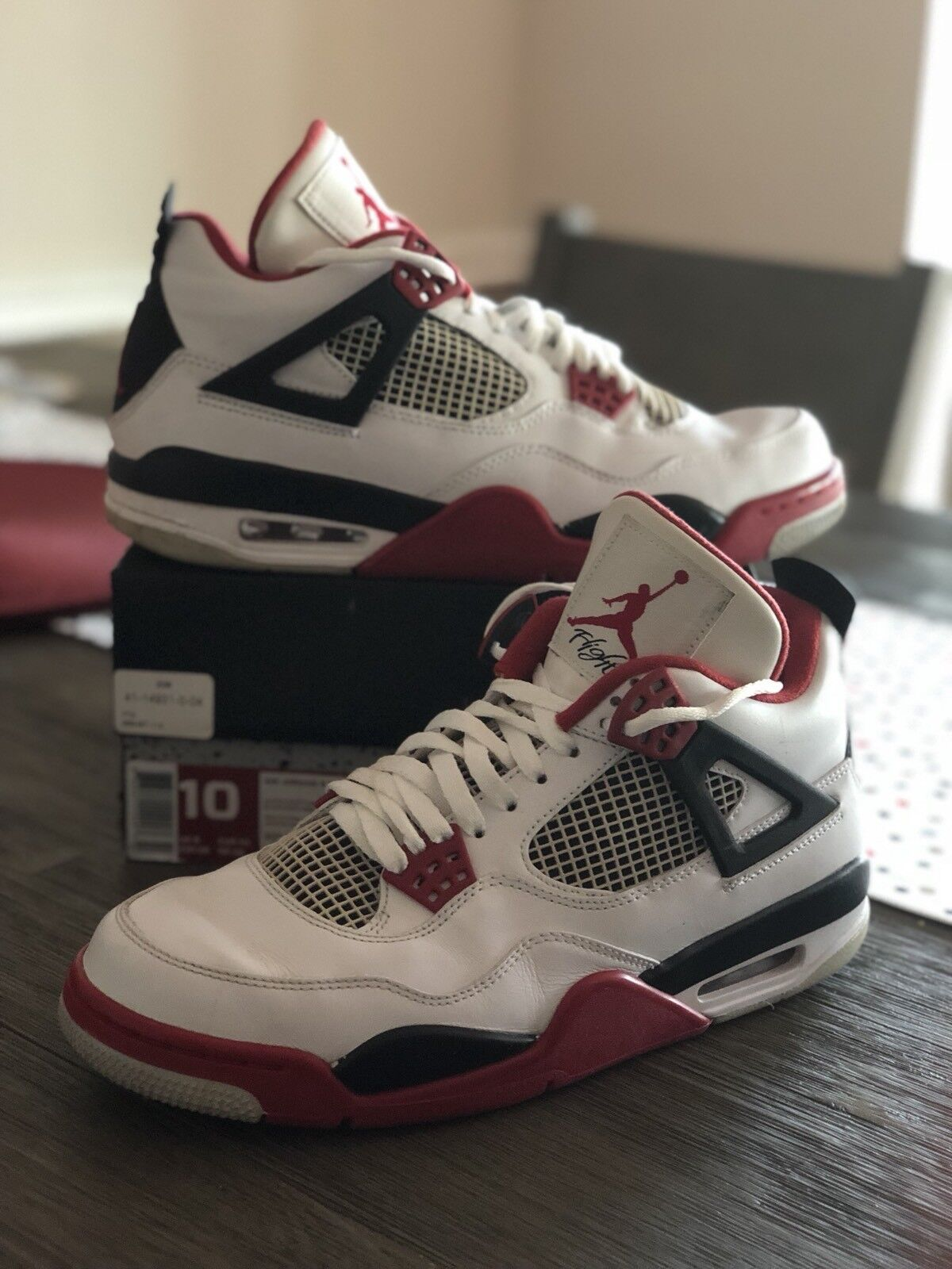 6155e3a14 ... official air jordan iv 4 retro fire 308497 red black cement grey 308497  fire 110 size