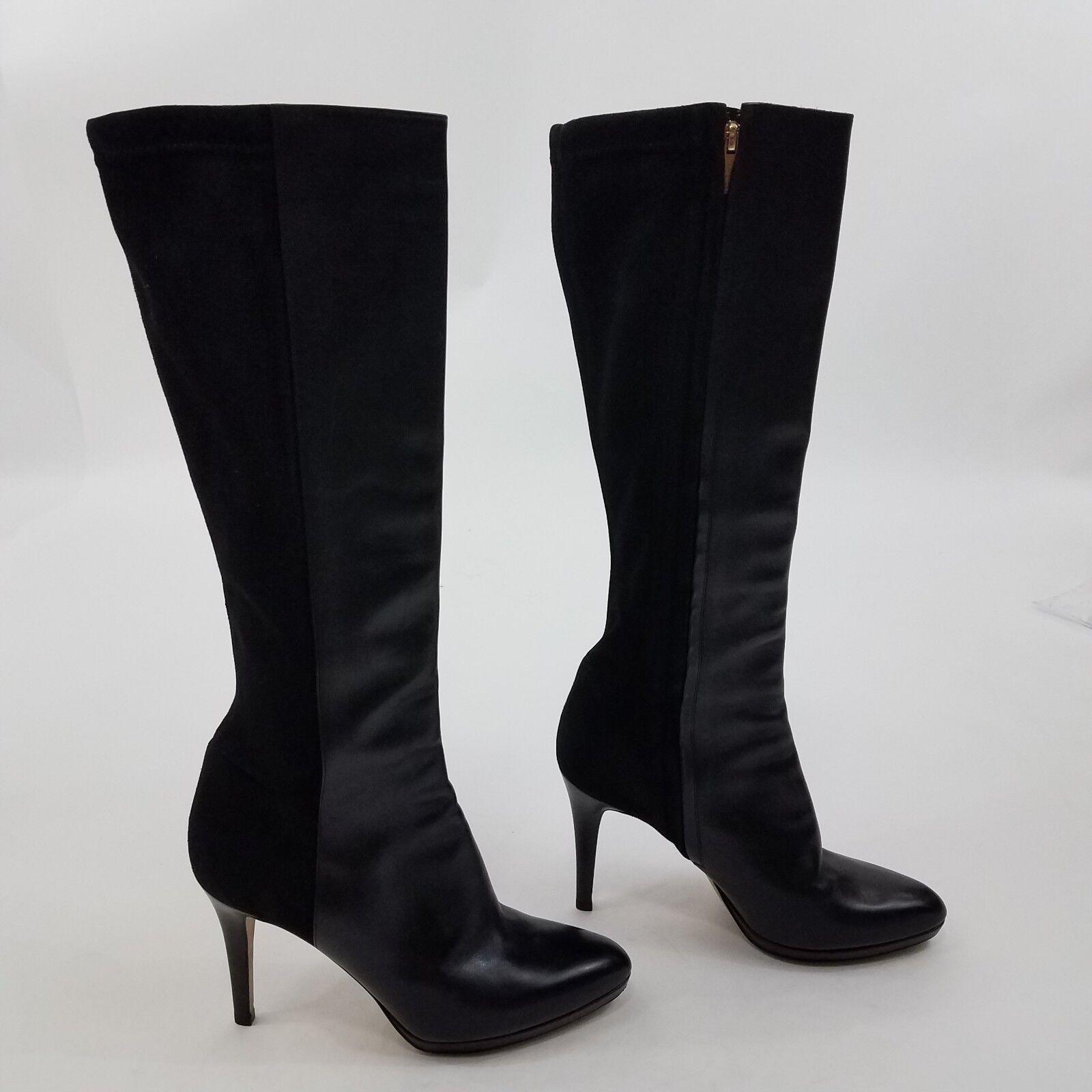 Jimmy Choo Boots Adele 38 8 Black Leather Heel Suede Zipper Pointy Toe Knee High
