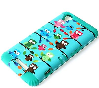 For ZTE Boost Max N9520 - HARD & SOFT RUBBER HYBRID CASE TURQUOISE GREEN OWLS