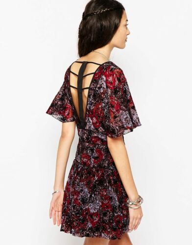 Free People Perfect Dream Berry Combo Fit /& Flare Lightweight Chiffon Dress $148