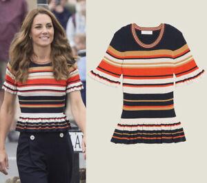 Kate-Middleton-Stripe-Knit-Top-Frill-Ruffle-Peplum-Color-Contrast-Women-Knitwear
