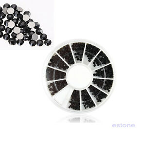 Details about 2-3mm Mixed Sizes Vogue Nail Art Tips 3D Crystal Glitter  Black Rhinestone Wheel bfd1a96c46cf