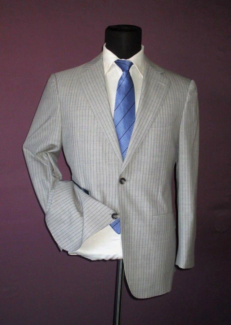 Suitsupply two button side vent light grau wool 120's striped suit  38R