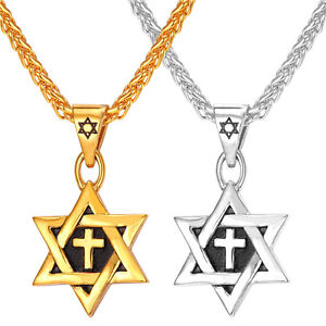 Star of david pendant stainless steel cross necklace 18k gold plated image is loading star of david pendant stainless steel cross necklace aloadofball Gallery