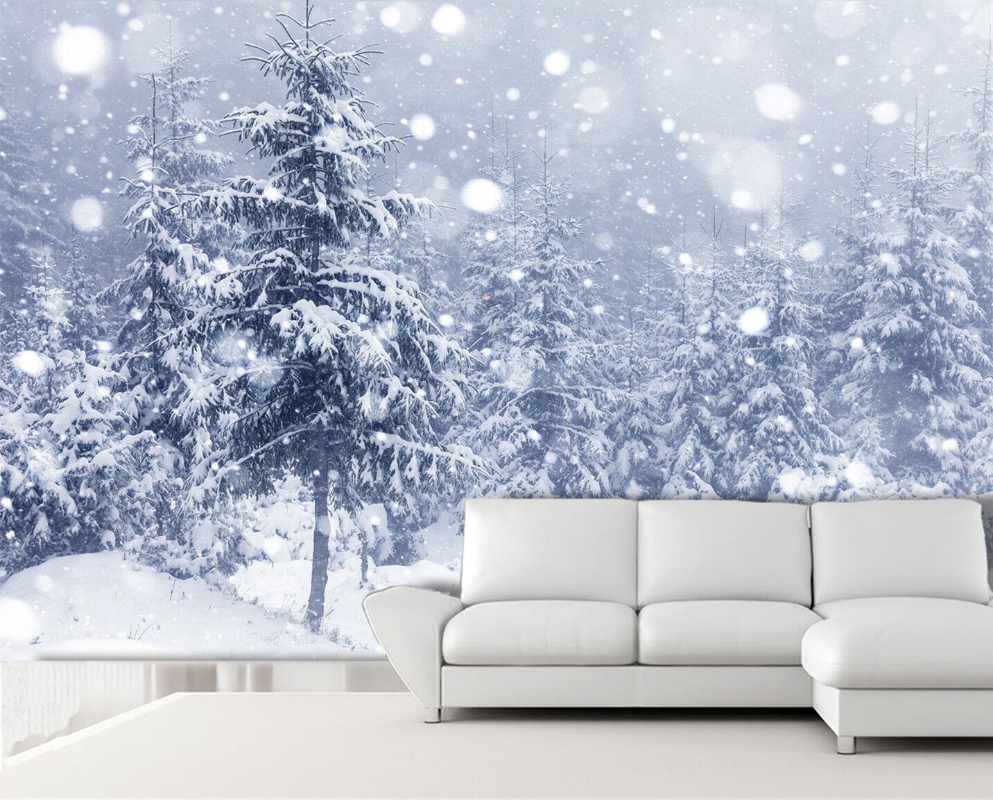 3D Snow Pine Trees 8 Wall Paper Murals Wall Print Wall Wallpaper Mural AU Summer
