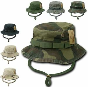 Image is loading Woodland-Camo-Military-Boonie-Hunting-Army-Fishing-Bucket- 02fa57ebf3e