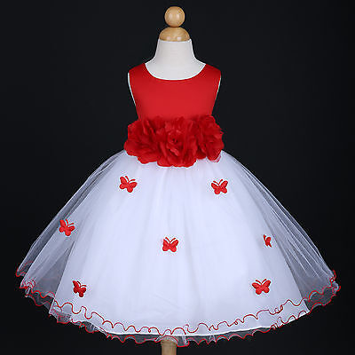 FLOWER GIRL DRESS APPLE RED CHRISTMAS HOLIDAY PARTY PAGEANT BIRTHDAY WEDDING NEW